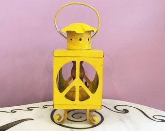 Vintage 60s 70s Peace Sign Railway Kerosene Oil Lantern Lamp