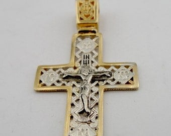 Jerusalem Cross, 925 Silver Cross, Gold Cross, Israel, 24K Gold Plating filigree Cross Pendant, Free Shipping, Men, Christmas, Birthday c403