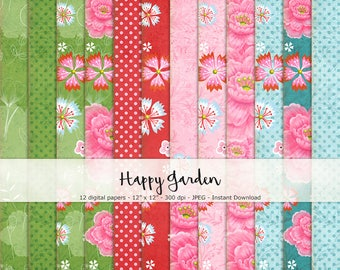 Happy Garden Paper Set of 12 - Printable and Digital