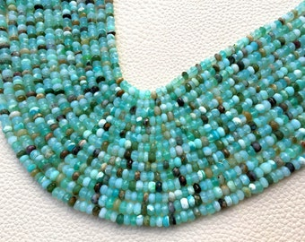 RARE,Brand New, Full 13 Inch Strand, Multi PERUVIAN Blue OPAL Faceted Rondelles,4mm Amazing Item at Low Price