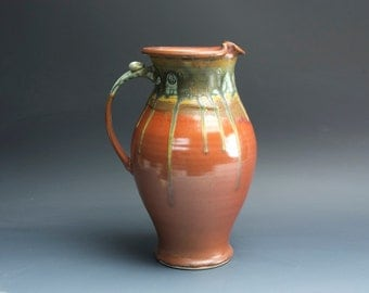 Half Price - Handcrafted pottery pitcher, stoneware vase 2 qt. iron red 3588