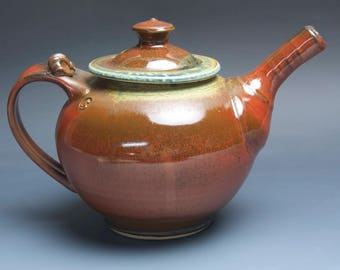 Handmade teapot stoneware tea pot variegated green and iron red 40 oz 3957