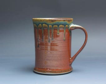 Sale - Handmade pottery coffee mug, ceramic mug, stoneware tea cup 16 oz mug glossy tangerine red flake  3964