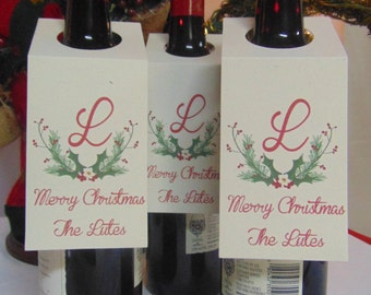 Christmas Wine tags - antlers - personalized with monogram and name - 1 to 2 business days