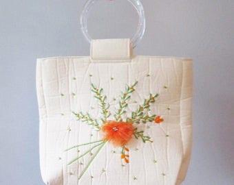 40% OFF SALE Vintage 1970's Orange Floral Handbag / Creamy-White Retro Mod Loop Handle Tote Bag Purse