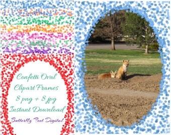 Confetti Borders, Confetti Sprinkles Clipart, Photo Overlay, 5x7 Inch, 300 dpi, Instant Download