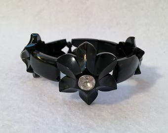 Victorian Bracelet Whitby Jet and Paste