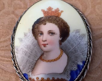 Victorian Brooch Hand Painted Porcelain - LARGE