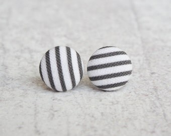 Black and White Striped Fabric Button Earrings