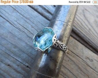 ON SALE Sky Blue topaz ring handmade in sterling silver