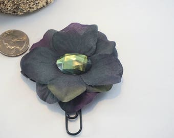 Navy Flower with Olive Green Rhinestone Center Planner Clip, Book Mark, Paper Clip, Planner Accessory, Ring Bound Decoration