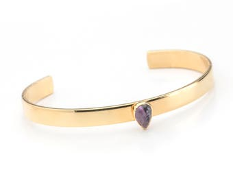 Dainty Gold Cuff Bracelet- Single Stone Teardrop Cuff