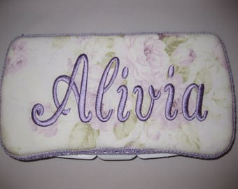 Personalized Travel Baby Wipe Case - Purple Lavender Rose Shabby Chic