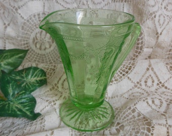 Green Ballerina Depression Glass Creamer Vintage at Quilted Nest