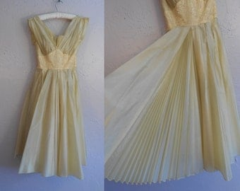 Hotter Than the Tropics - Vintage 1950s Fred Perlberg Lemon Yellow Rayon Chiffon Pleated Cocktail Dress - 00/0
