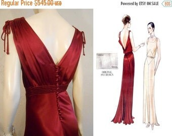 HOLIDAY 30% OFF Announcing the Lady Amelia Montrose  - Vintage 1930s Claret Red Silk Rayon Dress w/Plunge Back Button Detail - 4/6