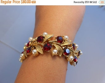50% Off Sale Drizzled With Beauty - 1950s Red Rhinestone & Pearl Bracelet Gold Tone Metal