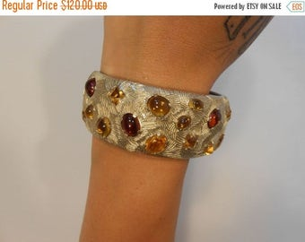 60% OFF SALE Bursting Forth in Autumn - Late 1940s Castlecliff Gold Tone Clamper Bracelet w/Amber & Golden Wheat Cabochons