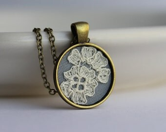 Unique Gift For Wife, Mom, Daughter, Anniversary, Art Nouveau, Small Pendant, Cotton Jewelry