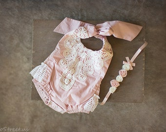 Girl Romper and Headband, Baby Overalls, Pink Lace Romper, Newborn Props, Baby Girl Props, Girl Props, RTS Props, Vintage Lace