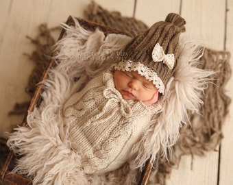 Newborn Sack, Cream Cable Knit Cocoon, Newborn Props, Baby Boy Wrap, RTS, Mohair Wrap, Knit Cocoon, Hand Knit Wrap, Baby Boy Props