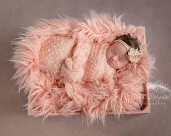 Newborn Wrap, Newborn Knit Wrap, Blush Peach  Pink Wrap, Girl Props, Newborn Props, Baby Props, RTS,  Pastels, Cocoon Wraps