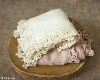 Baby Lace Wraps, Newborn Wraps, Many Colors, Baby Girl Photo Prop, newborn Props, RTS, Cream, Mauve Pink Wrap, Baby Props, Vintage, Fringe