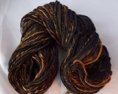 Eye of the Tiger, Hand Dyed, Hand Spun on drop spindle, 2oz, 110 yards, merino, bamboo silk and Angelina, luxury, textured, yarn