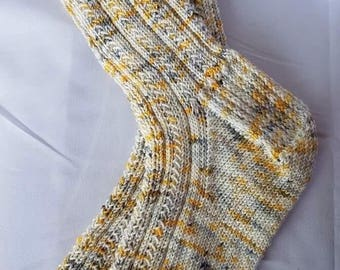 Gorgeous hand knitted socks, size 6-8 US, Moonchild  colourway, very very soft, mid calf length hand dyed merino/nylon, 80/20 yarn