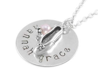 Ballet Hand Stamped Name Necklace, little girls gifts, pink, personalized dance necklaces, custom recital gift, niece, birthday HANNAH GRACE
