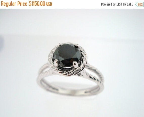 ON SALE Black Diamond Solitaire Engagement Ring 14K White Gold 1.10 Carat Certified Handmade