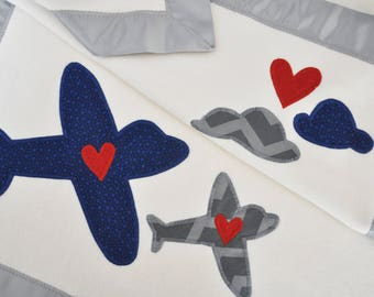Organic Baby Blanket with Airplanes -- Gray and Navy -- Free Personalization