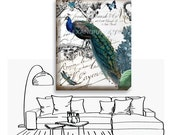 Peacock Canvas Wrap Print - Crown Butterfly Wrapped Canvas - Peacock Art Print - Hydrangea Canvas Wrap Print