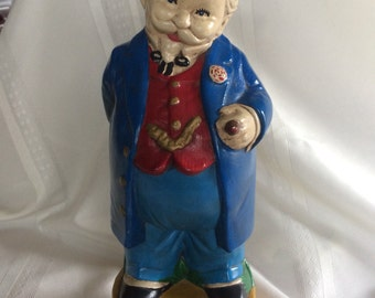 Vintage Character Bottle With Cork Top Looks Like Colonel Sanders