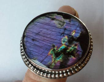 Purple Labradorite Ring Spectrolite Sterling Silver Statement Ring Size 7 Bohemian Gypsy Big