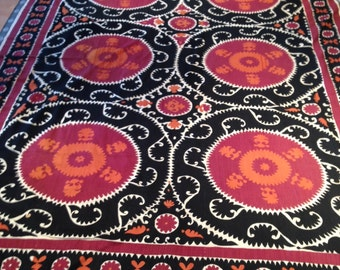 "Big + Beautiful Vintage Uzbek Suzani Hand Embroidery / 8'9""x11'10"" / 268x361cm"