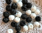 """Chef Coat Plastic Knot Button Black OR White, Washable, Faux Knots, """"Chef Coat Buttons"""", 10 in lot, 1/2 inch wide, Plastic Knot Buttons"""