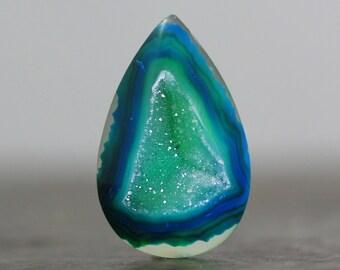 Teardrop Cabochon Pendant Drusy Druzy Geode Flatback Bezel Setting Gemstone for Tutorial Design & Lesson Natural Rock Bead Wire (11343)