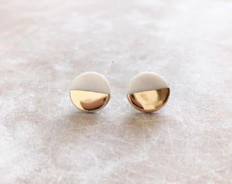 Earrings- gold circles, geometric earrings, gold dipped, ceramic earrings, handmade earrings, jewelry, earrings