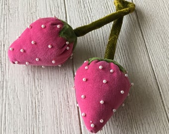 Vintage Double Strawberry Pink Velvet & Pearls Pincushion