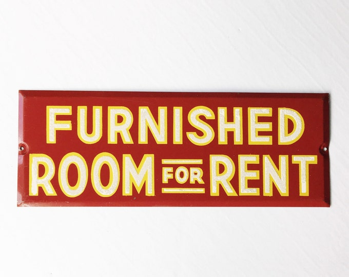 Vintage Furnished Room For Rent Sign