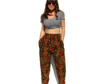 Animal/forest print elastic waist tapered resort pants 1990s 90s VINTAGE