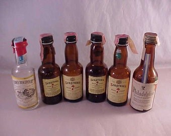 6 Glass Miniature Liquor Bottles
