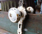 2 vintage door knobs w/  escutcheon key door plates White chippy paint Cottage shabby Aged rustic handles Restoration door hardware