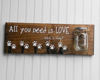 Dog Leash Holder, Dog Leash Hook, Dog Leash Hanger, Dog Leash and Collar Hooks, Dog Leash and Treat Holder, Dog Leash Organizer, Dog Gift
