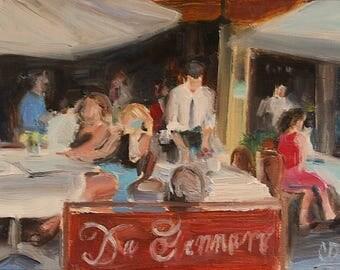 Little Italy Cafe Scene, New York City, Romantic Painting, Street Cafe, European Painting, Waiter, Da Gennaro, Cityscape, Italian Restaurant