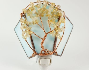 Citrine Autumn Tree of Life against a Blue Sky Stained Glass and Wire Wrapped Night Light