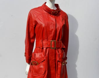 Vintage 70's RED leather trench coat coat jacket MOD mid century modern made in Israel size M by thekaliman