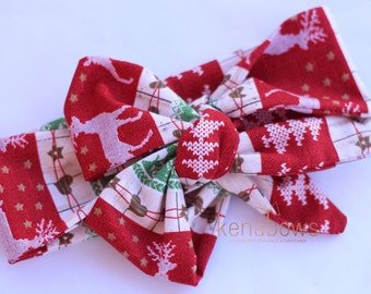 Holiday Head Wrap, Christmas Bow, Fabric Headband, Head Scarf, Country Christmas, Deer, Newborn, infant, toddler, red, green