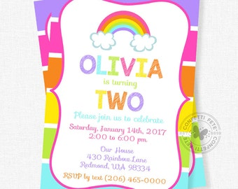 Rainbow Birthday Invitation, Pink Rainbow Invitation, Rainbow Party, Girl Birthday Invitation, Colorful Invitation, Bright
